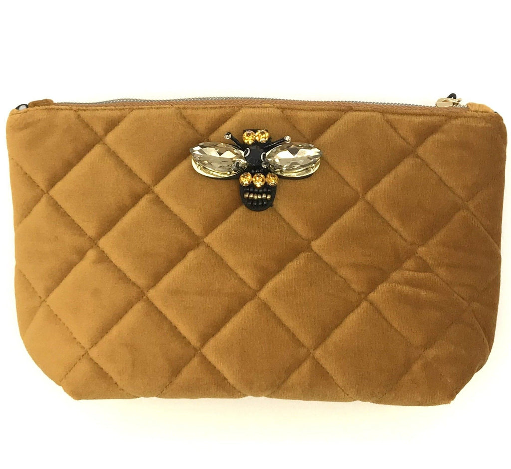 Quilted velvet make-up bag in rust - Nolita