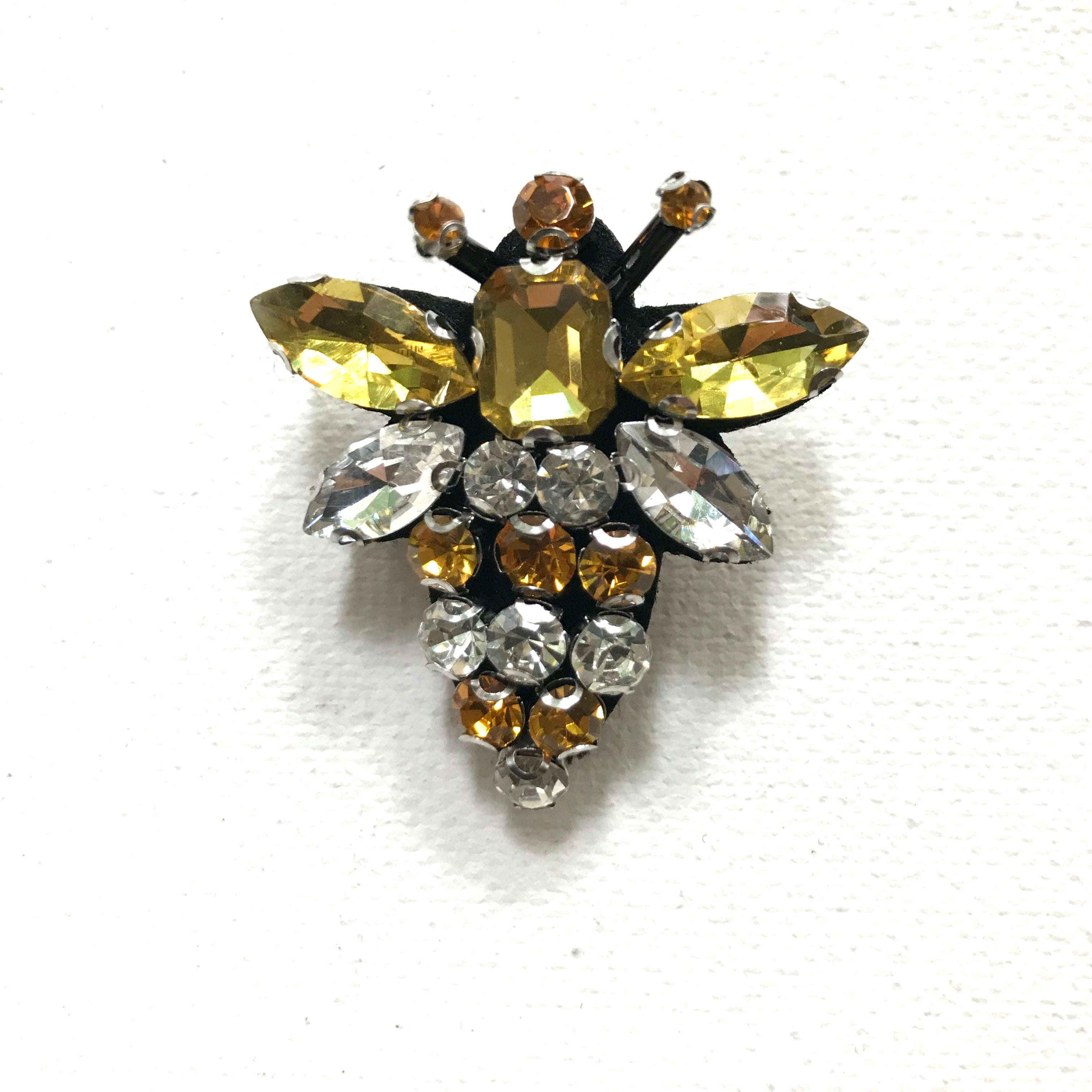 Queen bee pin yellow - made from recycled glass