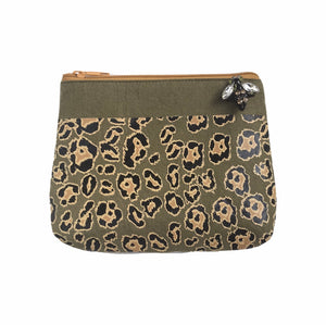 Leopard print pouch in military olive