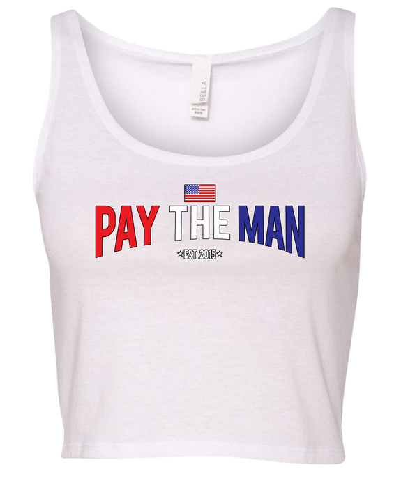 Red, White, and Blue Pay the Man Crop Top