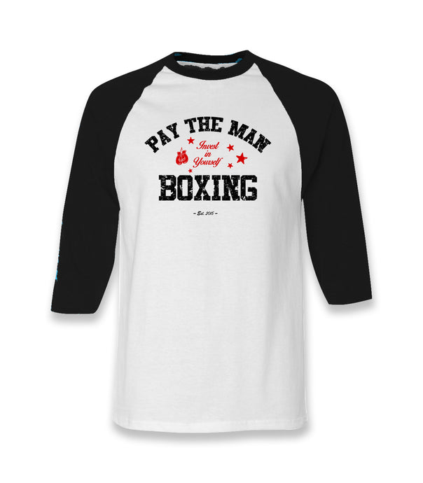 Pay The Man boxing white and black three Quarter Baseball Shirt with black and red aged lettering.