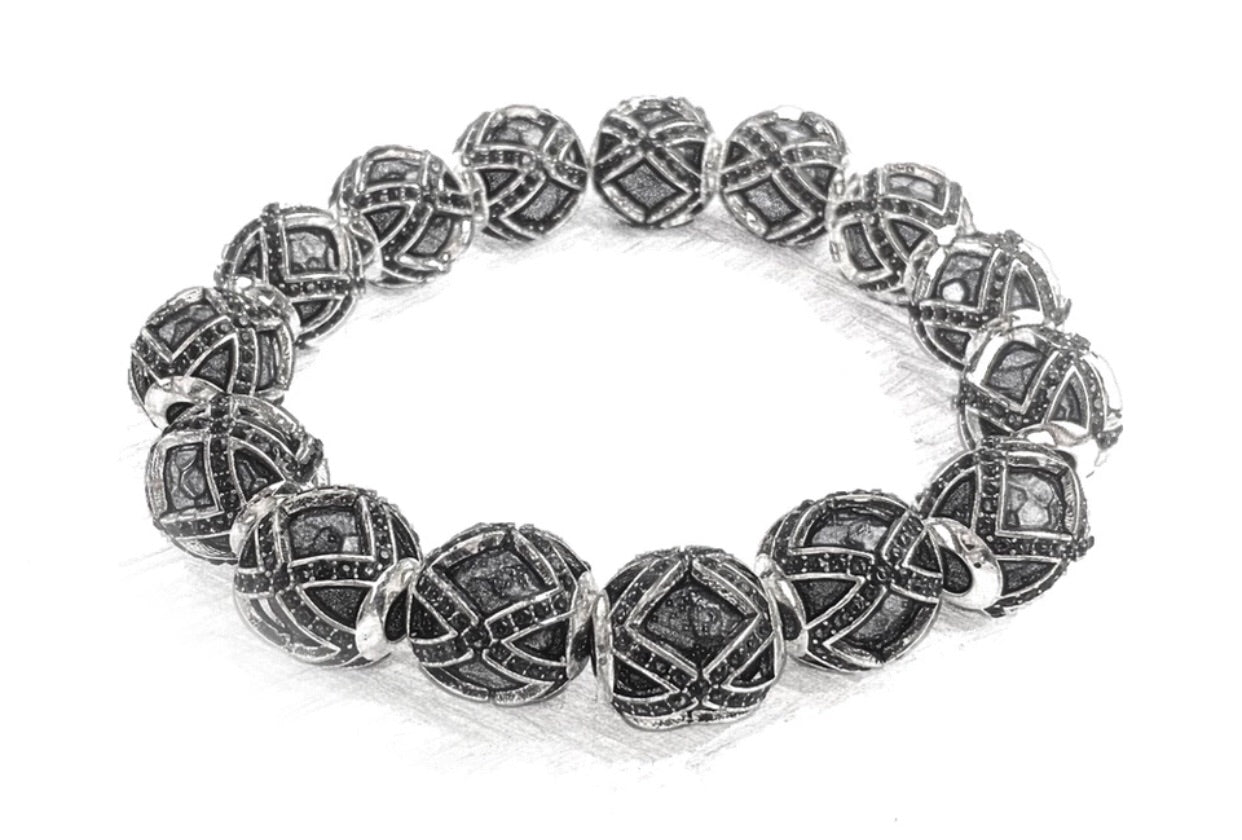 KC CROWN 'HIM' Mahalani Prayer Sterling Silver Ball Bracelet