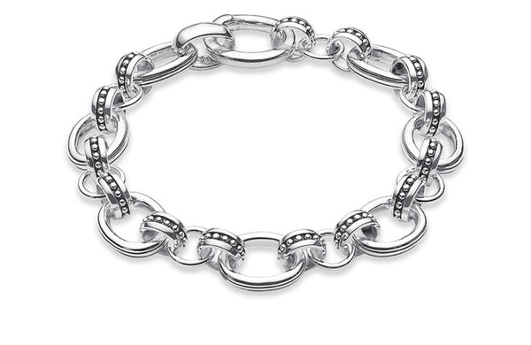 KC CROWN 'HIM' Classic Sterling Silver Link Bracelet