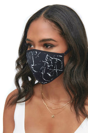 Protective Face Mask - Assorted 3 Piece Pack - Solid Black / Black Star / Black Marble
