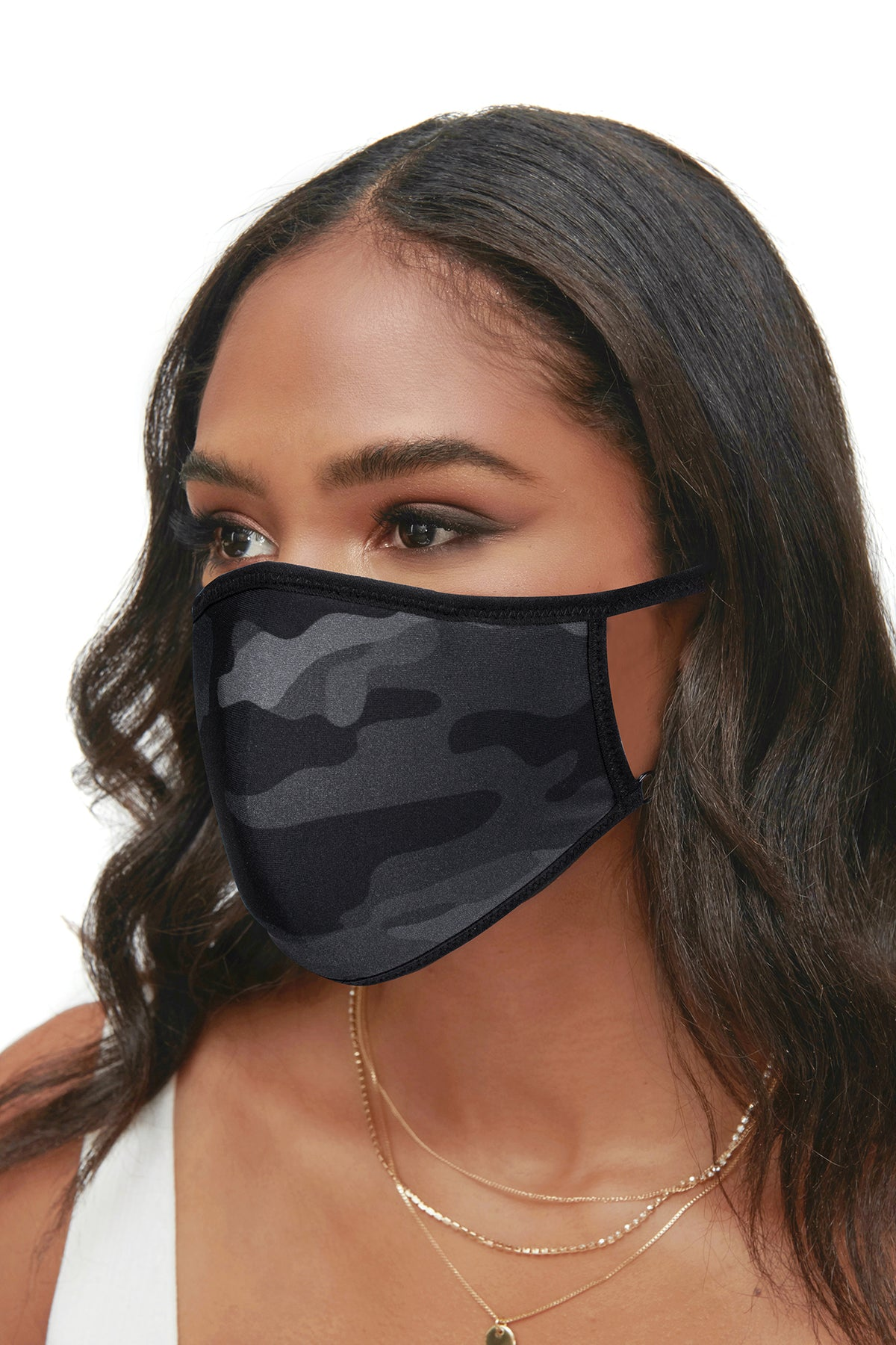 Protective Face Mask - Assorted 3 Piece Pack - Solid Black / Black Snake / Black Camo