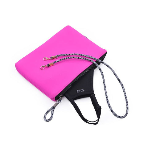Sol and Selene Essential Mask Kit  - Face Mask, Pouch, Lanyard Accessories : Accessories : Masks 841764106085 | Hot Pink/Black/Stripes