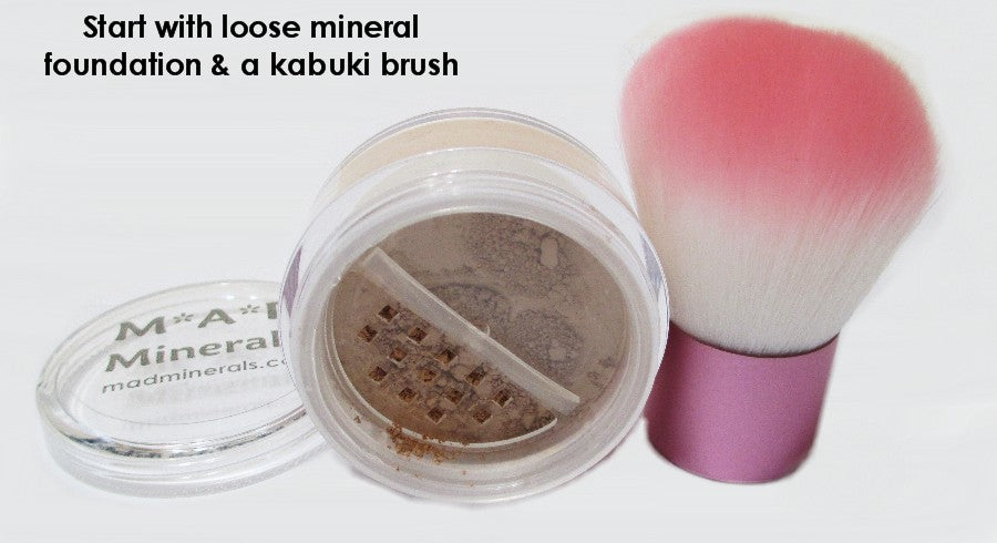 START OFF WITH MINERAL FOUNDATION AND A KABUKI BRUSH