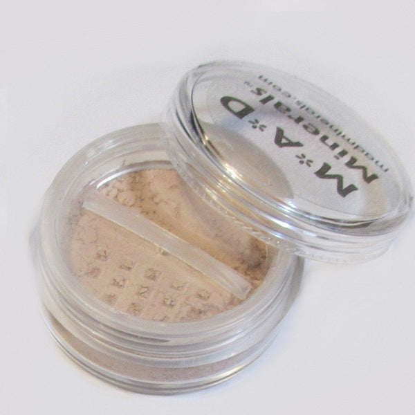 20 GRAM CLEAR COSMETIC JAR WITH SIFTER OPTION Accessories M*A*D Minerals Makeup WITH ROTATING SIFTER