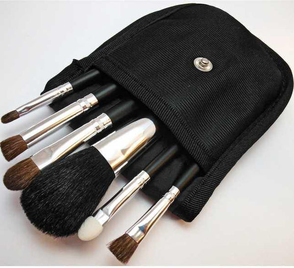 6 Piece Pro Travel Brush Set with Case For Mineral Makeup Accessories M*A*D Minerals Makeup