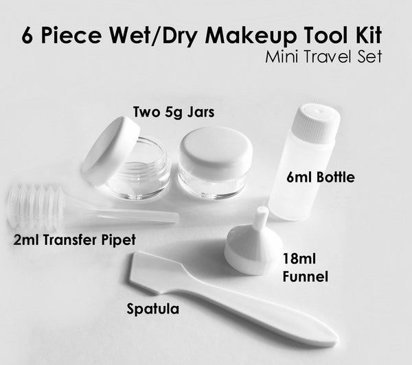 6 Pc Wet/Dry Makeup Tool KIt Mini Travel Set M*A*D Minerals Makeup, LLC