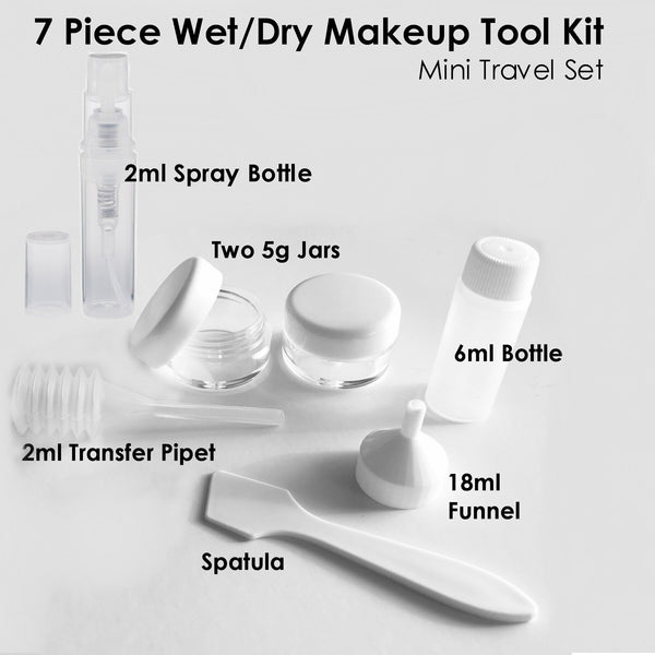 7 Pc Wet/Dry Makeup Tool KIt Mini Travel Set M*A*D Minerals Makeup, LLC