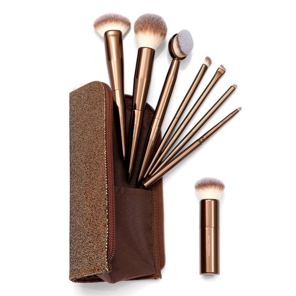 8 PIECE LIMITED EDITION POLISHED BRONZE SHADE & GLOW BRUSH COLLECTION