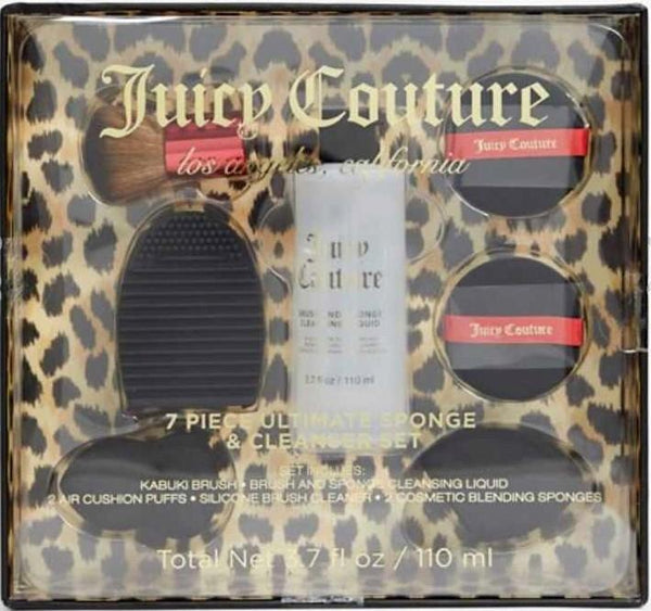 7 PC JUICY COUTURE BOXED GIFT SET KABUKI BRUSH PUFFS SPONGES CLEANSER gift set M*A*D Minerals Makeup, LLC