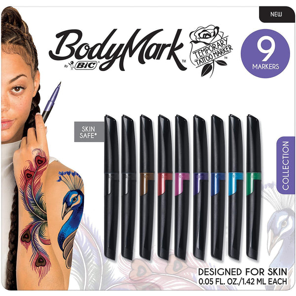 SET OF 9 ASSORTED COLORS BIC BODYMARK TEMPORARY TATTOO MARKERS BODY ART MARKERS M*A*D Minerals Makeup, LLC