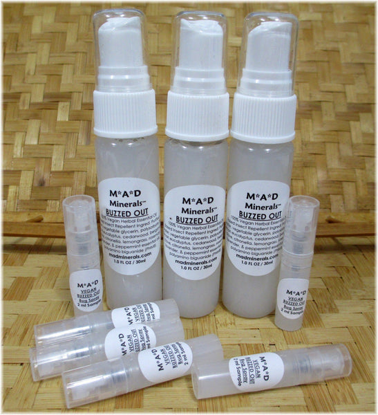 NEW! Vegan BUZZED OUT Herbal Essential Oil-Based Spray Insect Bug Repellent vegan insect bug repellent M*A*D Minerals Makeup