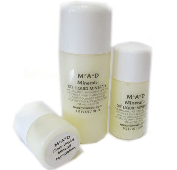 VEGAN DIY ORGANIC CLEAR LIQUID MINERAL ANTI-AGING & HEALING FOUNDATION ANTI-AGING SKIN PRODUCTS M*A*D Minerals Makeup