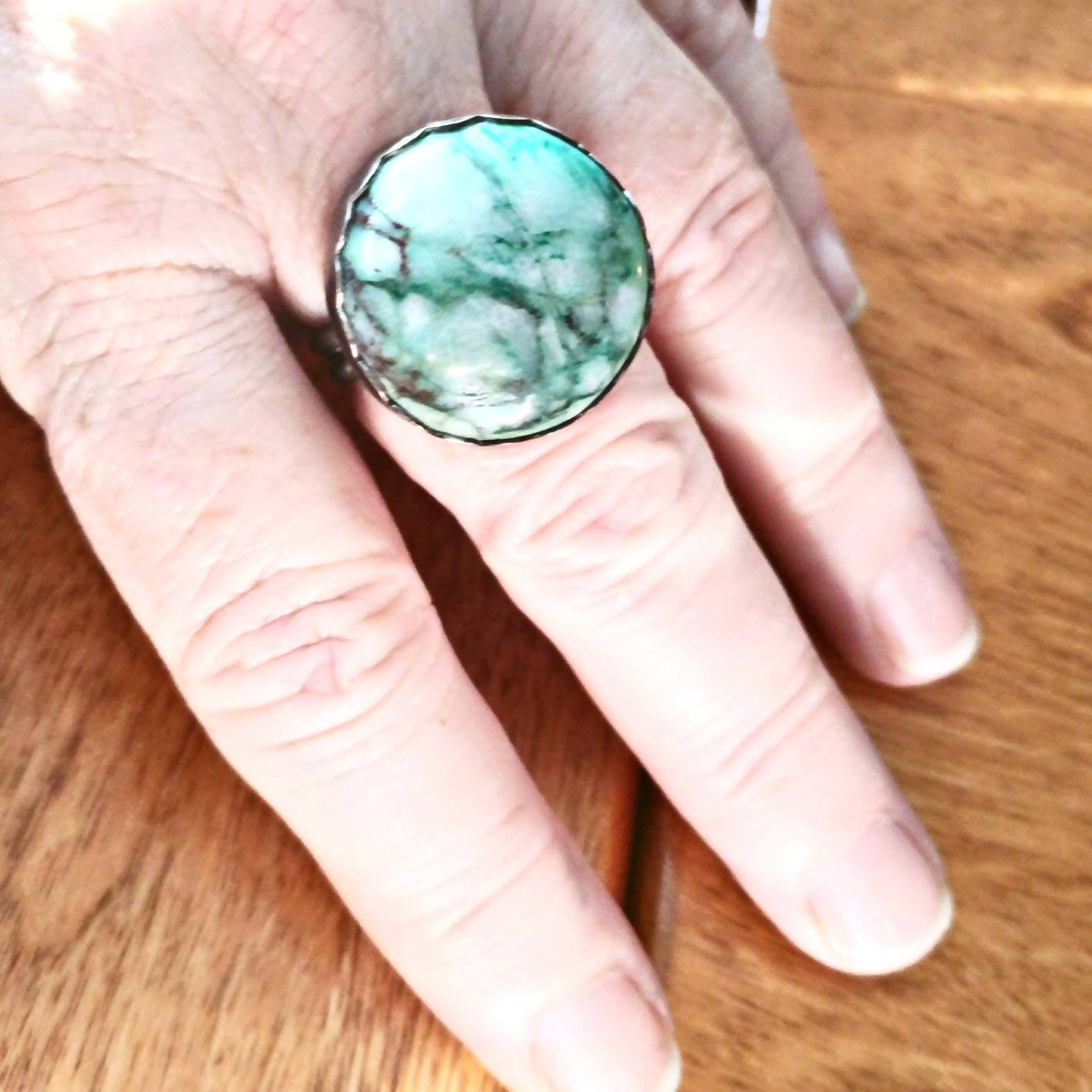 Adjustable Variscite Silver Ring - #shop_terradore#