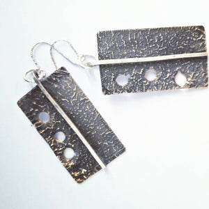 Brutalist Contemporary Reticulated Silver Earrings - Marked Down to Make Room - #shop_terradore#