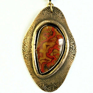 Hand-cut Moroccan Seam Agate Set in Etched Bronze Pendant - #shop_terradore#