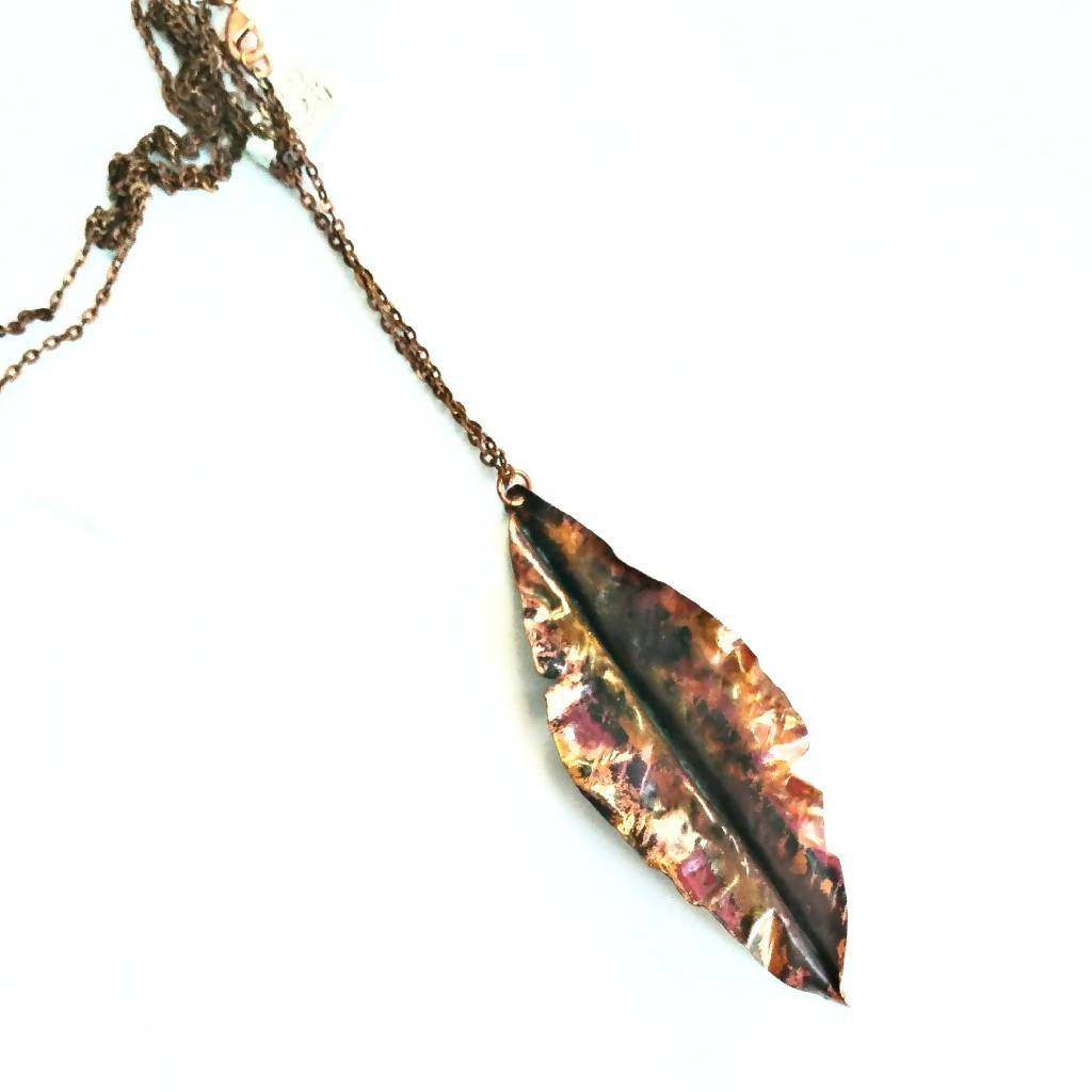 Hand-forged Thin Flame Patina Copper Leaf Pendant on Long Chain - #shop_terradore#