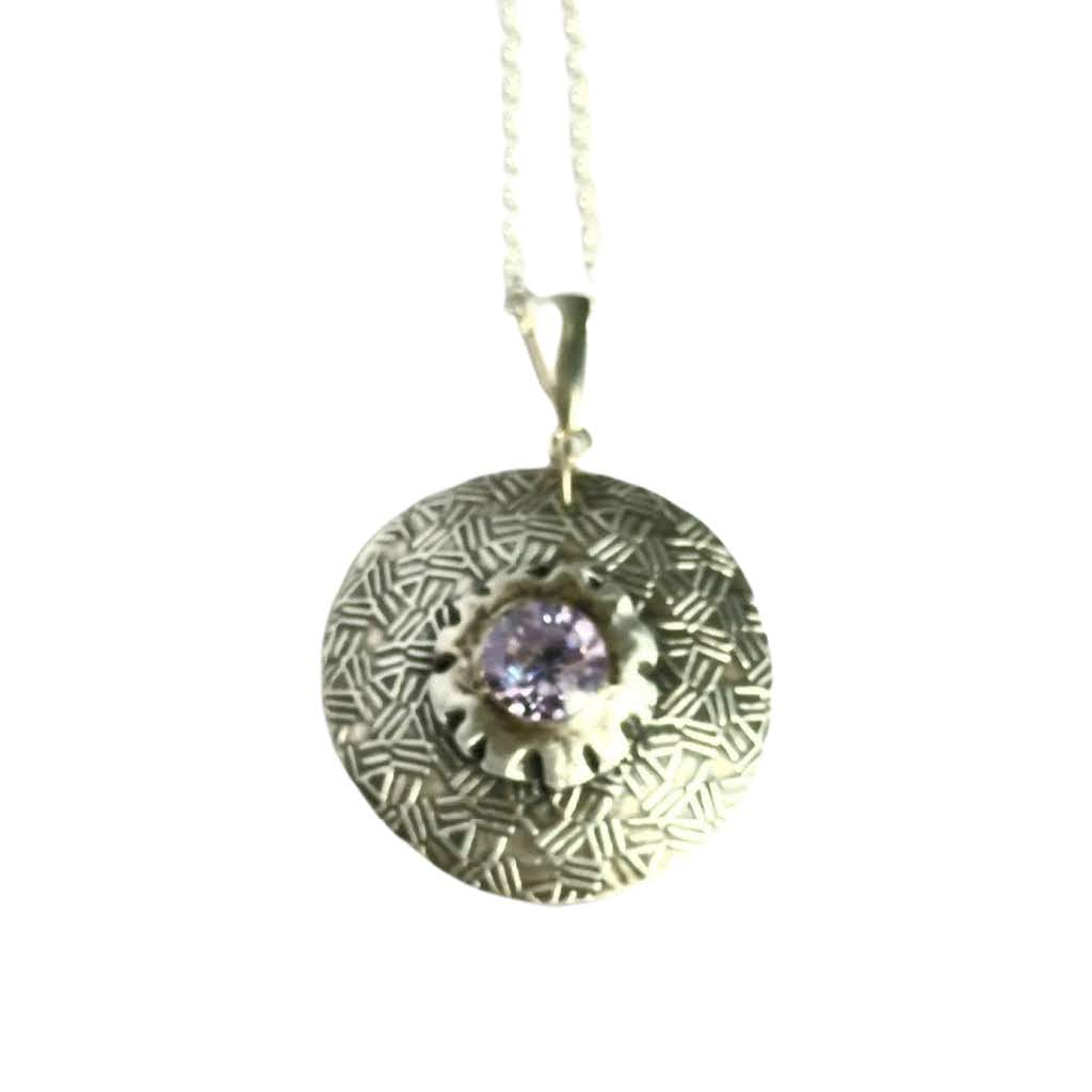 Heavy Fine Silver Pendant with Lavender Gemstone - #shop_terradore#