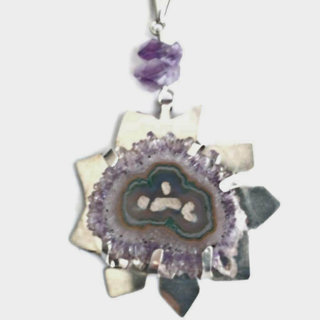 Rare and Striking Amethyst Flower in Modern Sterling Silver Pendant - #shop_terradore#