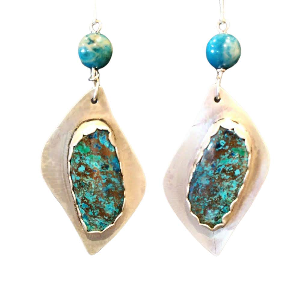 Silver Shattuckite Earrings, TearsheetPDX magazine - #shop_terradore#