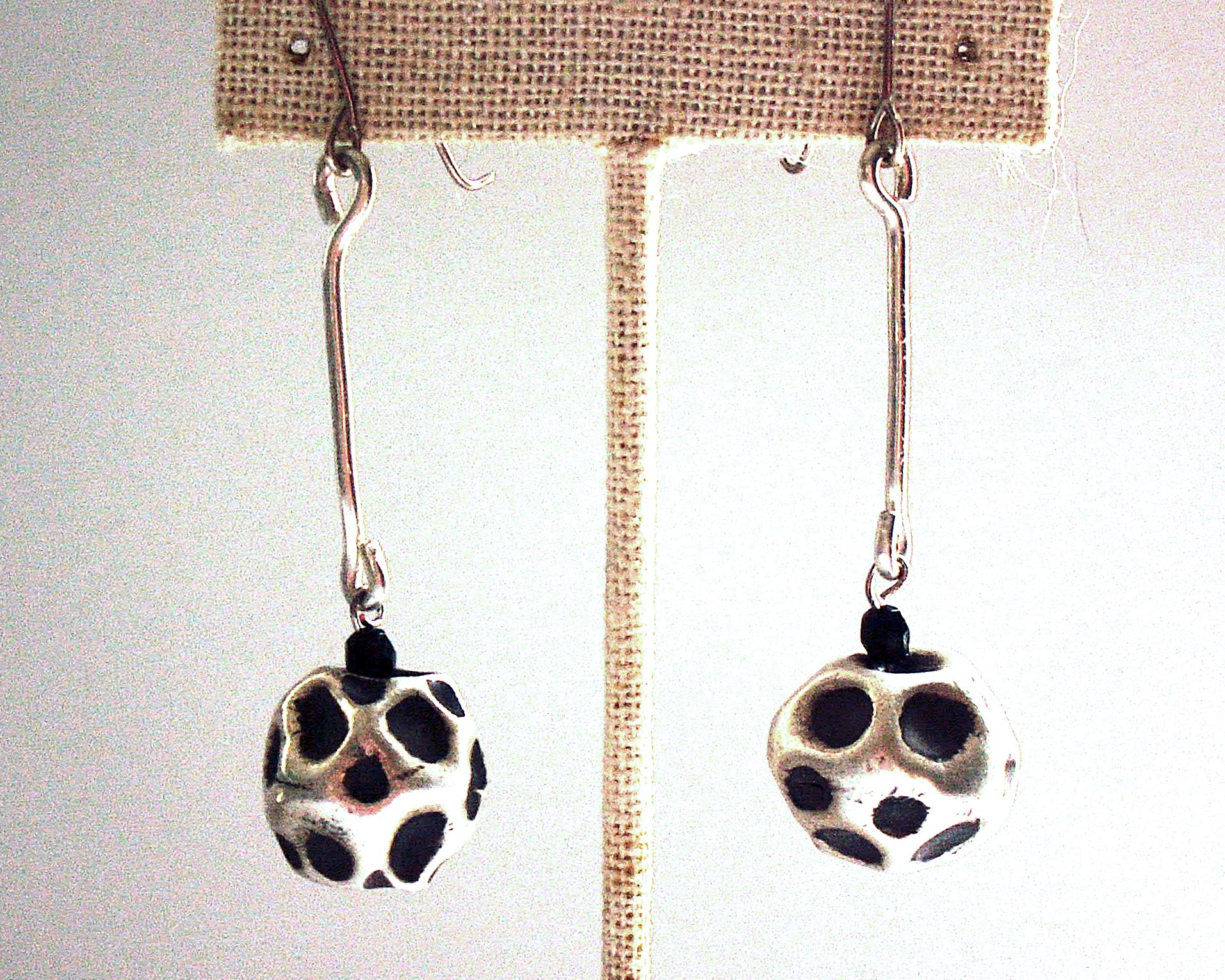 "Sterling Silver Drop ""Meteorite"" Earrings - #shop_terradore#"