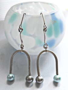U Shape Silver Frame Drop Earrings with Spun Silk Balls - #shop_terradore#