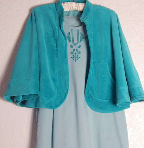 Hospital Gown-Cape/Bed Jacket Set in Aqua Mist Aqua Mist
