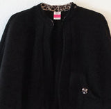 Polar Fleece Bed Jacket Cape with Cheetah Print Trim