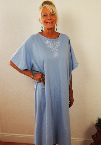 """Isadora"" Short sleeve sky blue gown with white embroidery"