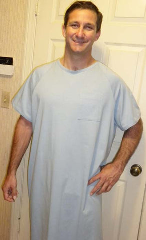 Men's Short Sleeve Sky Blue Hospital Gown