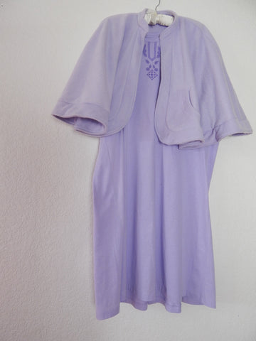 Soft Lavender Bed Jacket-Cape And Cute Hospital Gown Set
