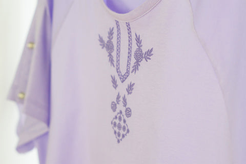Lavender Cotton, Anatolia Floral Embroidered I.V. Patient Gown