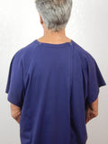 Men's Basic Navy Blue T-Shirt Style Cotton Hospital Gown