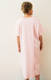 Cute Pink Hospital Gown With Anatolia Floral Embroidery And IV Sleeves