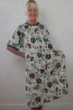 Floral Print Patient Gown With Neckline Bow