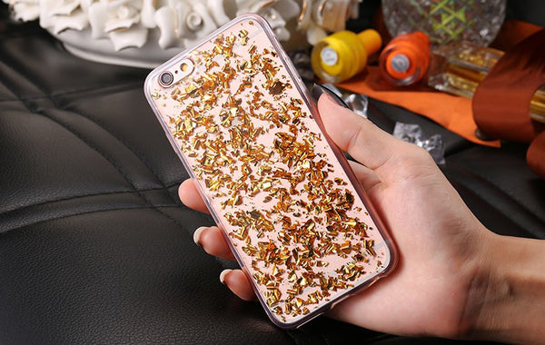 Luxury Gold, Silver, & Rose Gold Ultra Slim Bling Sequin Case For iPhone