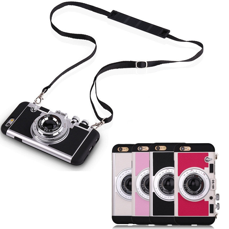 Retro 3D Camera Design Back Cover Case With Long Strap Rope