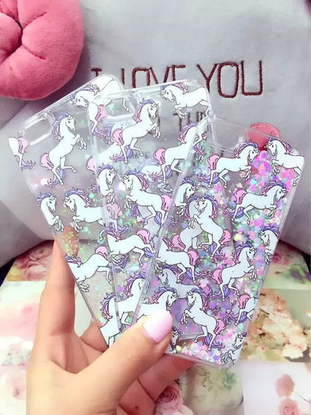 Unicorn Bling Glitter Liquid Quicksand Case
