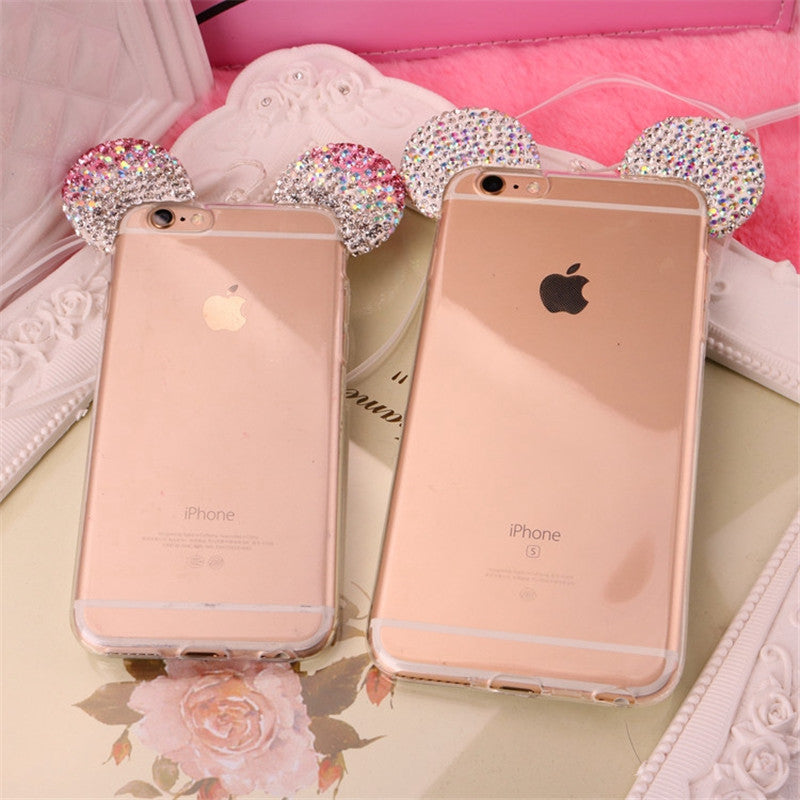 3D Bling Diamond Minnie Ears iphone case