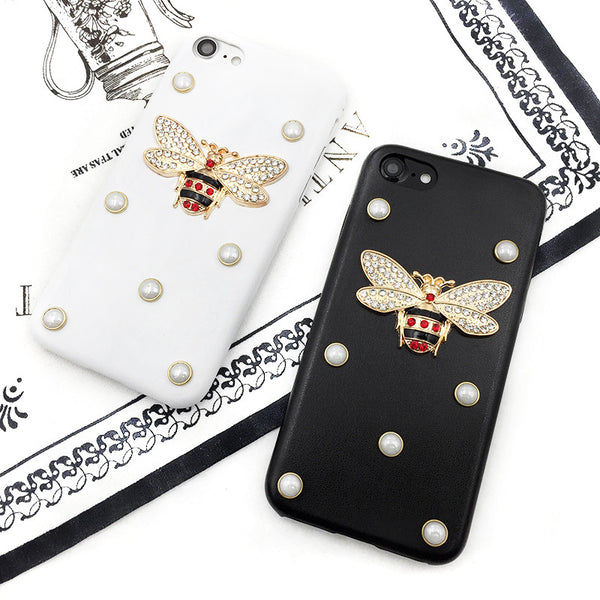 Diamond Bee Pearl Leather phone case