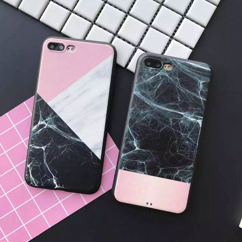 Black/Pink Ultra Thin Marble Pattern Protective Case