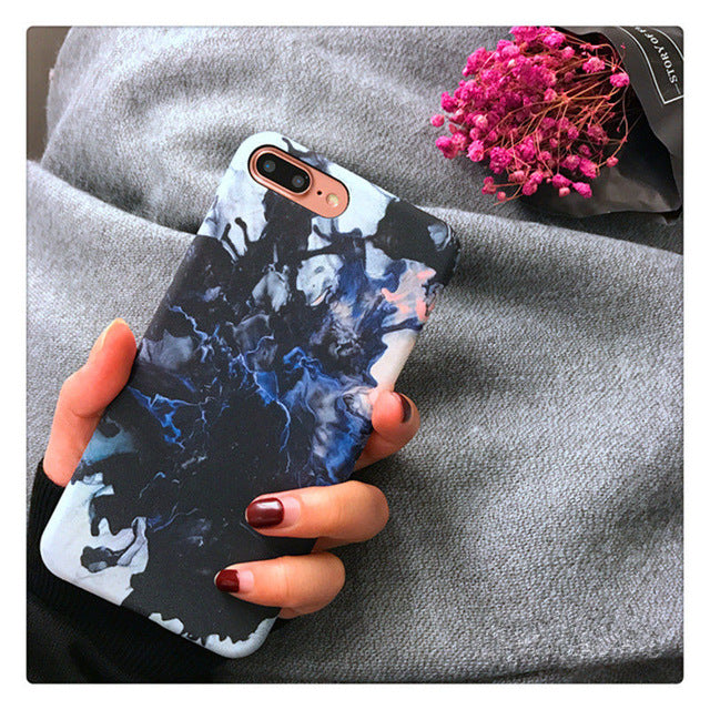 Navy Fashion Marble iPhone Case