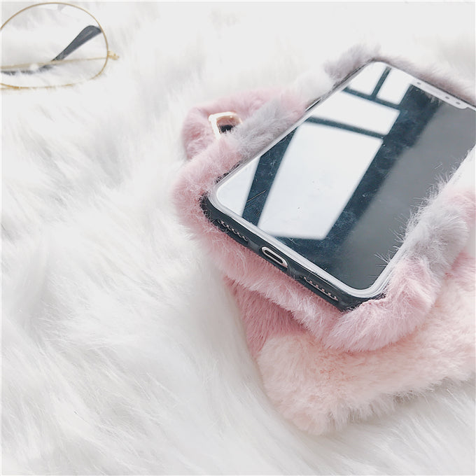 Winter pink plush rabbit Fur Case