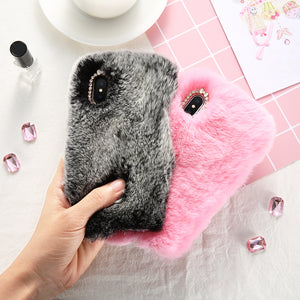 Soft Warm Rabbit Fur Hair Case For iPhone