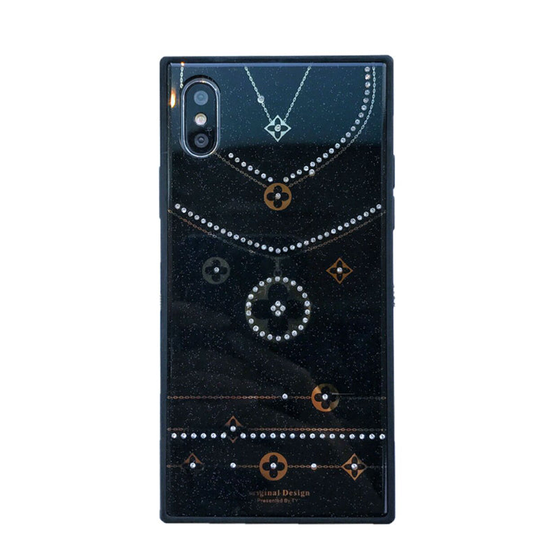 Jewelled Tempered Glass Luxury Monogram Case iPhone