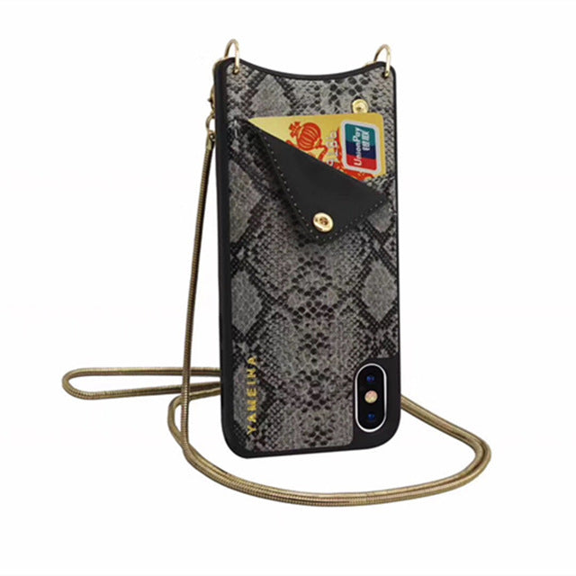 Fashion Snake Skin Metal Chain Wallet Leather iPhone Case