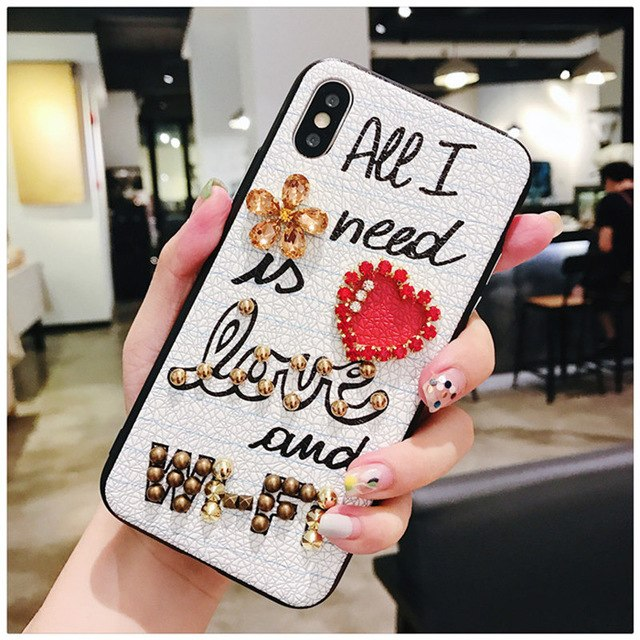Luxury 3D studded ( love and wifi) white leather hard phone case
